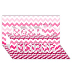 Pink Gradient Chevron Large Best Friends 3D Greeting Card (8x4)