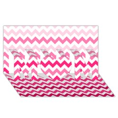 Pink Gradient Chevron Large Mom 3d Greeting Card (8x4)