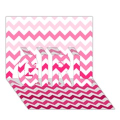 Pink Gradient Chevron Large Girl 3d Greeting Card (7x5)