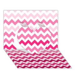 Pink Gradient Chevron Large Heart 3D Greeting Card (7x5)