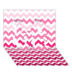 Pink Gradient Chevron Large LOVE 3D Greeting Card (7x5)