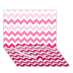 Pink Gradient Chevron Large Heart Bottom 3d Greeting Card (7x5)