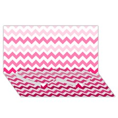 Pink Gradient Chevron Large Twin Heart Bottom 3D Greeting Card (8x4)