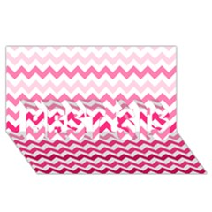 Pink Gradient Chevron Large BEST SIS 3D Greeting Card (8x4)