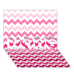 Pink Gradient Chevron Large HOPE 3D Greeting Card (7x5)