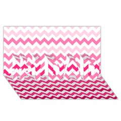 Pink Gradient Chevron Large #1 Dad 3d Greeting Card (8x4)