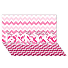 Pink Gradient Chevron Large PARTY 3D Greeting Card (8x4)