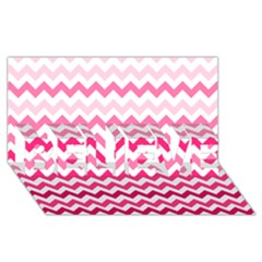 Pink Gradient Chevron Large BELIEVE 3D Greeting Card (8x4)