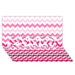 Pink Gradient Chevron Large Sorry 3d Greeting Card (8x4)