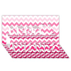 Pink Gradient Chevron Large Best Wish 3d Greeting Card (8x4)