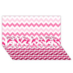 Pink Gradient Chevron Large ENGAGED 3D Greeting Card (8x4)