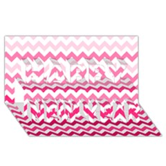 Pink Gradient Chevron Large Happy New Year 3d Greeting Card (8x4)