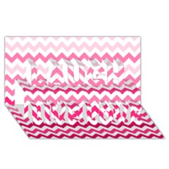 Pink Gradient Chevron Large Laugh Live Love 3d Greeting Card (8x4)