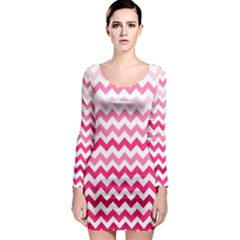 Pink Gradient Chevron Large Long Sleeve Bodycon Dresses