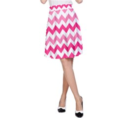 Pink Gradient Chevron Large A-Line Skirts