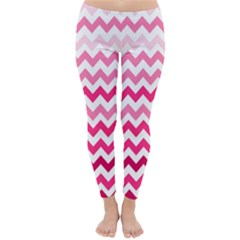 Pink Gradient Chevron Large Winter Leggings