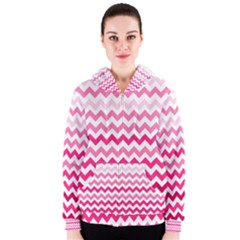Pink Gradient Chevron Large Women s Zipper Hoodies