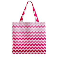 Pink Gradient Chevron Large Zipper Grocery Tote Bags