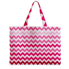 Pink Gradient Chevron Large Zipper Tiny Tote Bags