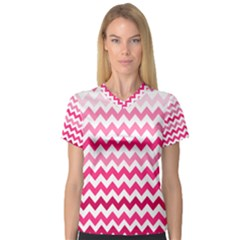 Pink Gradient Chevron Large Women s V-Neck Sport Mesh Tee