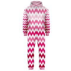 Pink Gradient Chevron Large Hooded Jumpsuit (Men)