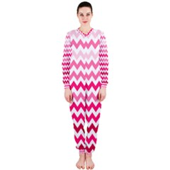Pink Gradient Chevron Large OnePiece Jumpsuit (Ladies)