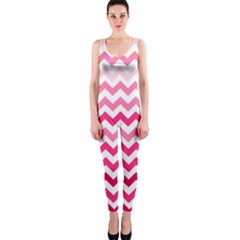 Pink Gradient Chevron Large OnePiece Catsuits