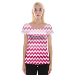 Pink Gradient Chevron Large Women s Cap Sleeve Top