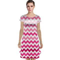 Pink Gradient Chevron Large Cap Sleeve Nightdresses
