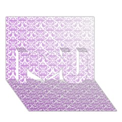 Purple Damask Gradient I Love You 3D Greeting Card (7x5)