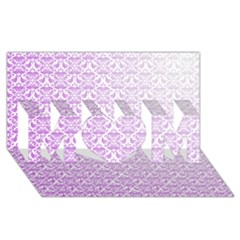 Purple Damask Gradient Mom 3d Greeting Card (8x4)