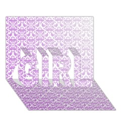 Purple Damask Gradient Girl 3d Greeting Card (7x5)