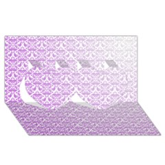 Purple Damask Gradient Twin Hearts 3d Greeting Card (8x4)