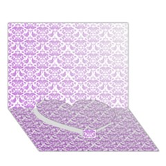 Purple Damask Gradient Heart Bottom 3D Greeting Card (7x5)