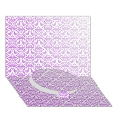 Purple Damask Gradient Circle Bottom 3D Greeting Card (7x5)