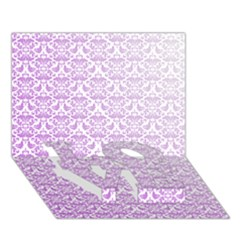 Purple Damask Gradient Love Bottom 3d Greeting Card (7x5)