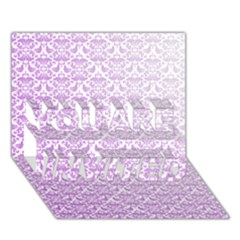 Purple Damask Gradient You Are Invited 3d Greeting Card (7x5)