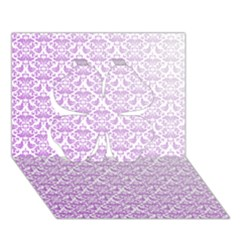 Purple Damask Gradient Clover 3D Greeting Card (7x5)