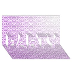 Purple Damask Gradient PARTY 3D Greeting Card (8x4)