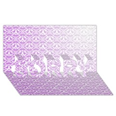 Purple Damask Gradient SORRY 3D Greeting Card (8x4)