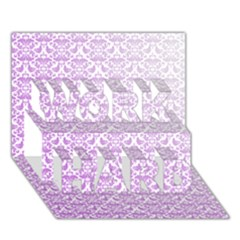 Purple Damask Gradient Work Hard 3d Greeting Card (7x5)