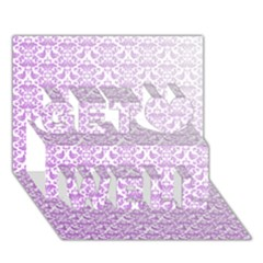 Purple Damask Gradient Get Well 3D Greeting Card (7x5)