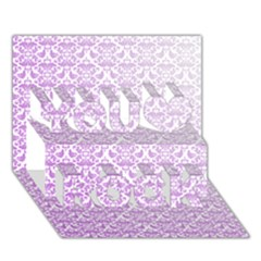 Purple Damask Gradient You Rock 3D Greeting Card (7x5)