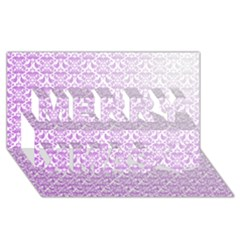 Purple Damask Gradient Merry Xmas 3D Greeting Card (8x4)