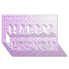 Purple Damask Gradient Happy New Year 3D Greeting Card (8x4)