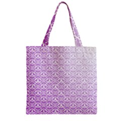 Purple Damask Gradient Zipper Grocery Tote Bags