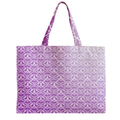 Purple Damask Gradient Zipper Tiny Tote Bags