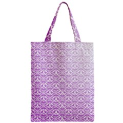 Purple Damask Gradient Zipper Classic Tote Bags