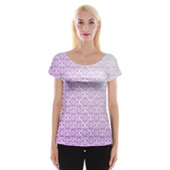 Purple Damask Gradient Women s Cap Sleeve Top