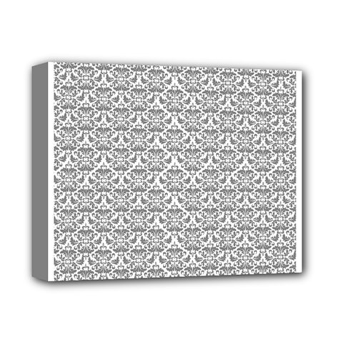 Gray Damask Deluxe Canvas 14  x 11